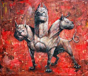 Cerberus- ein gewaltiger Hund mit drei Köpfe auf dem roten Hintergrund.