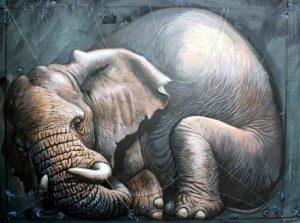 Ein riesiger Gigant Elefant wird von vielen kleinen Mäuschen Elefanten mit Faden gefesselt.
