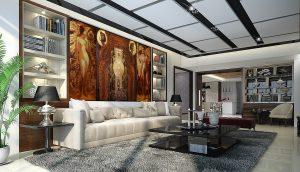 """Triptychon """"Am Anfang"""" im Interieur eines Wohnraumes."""