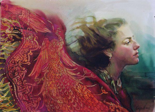Der Wind. Abbildung einer Frau mit vom Wind verwehten Haare und rotem Umhang. Aquarell, Pastelle auf Papier.