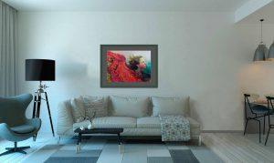 """Bild """"Der Wind"""" im Wohnzimmer über die Couch."""