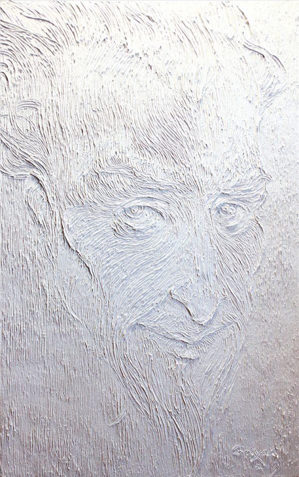 Gesicht vom Don Kichot in weiss. Öl auf Leinwand.