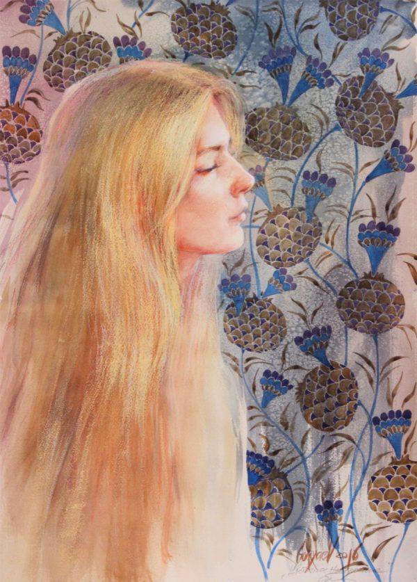 Abbildung einer Frau mit geschlossenen Augen. Aquarell, Pastelle auf Papier.
