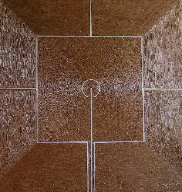 Symbolische Darstellung eines Gebets im Kupfergold. Öl auf Leinwand.