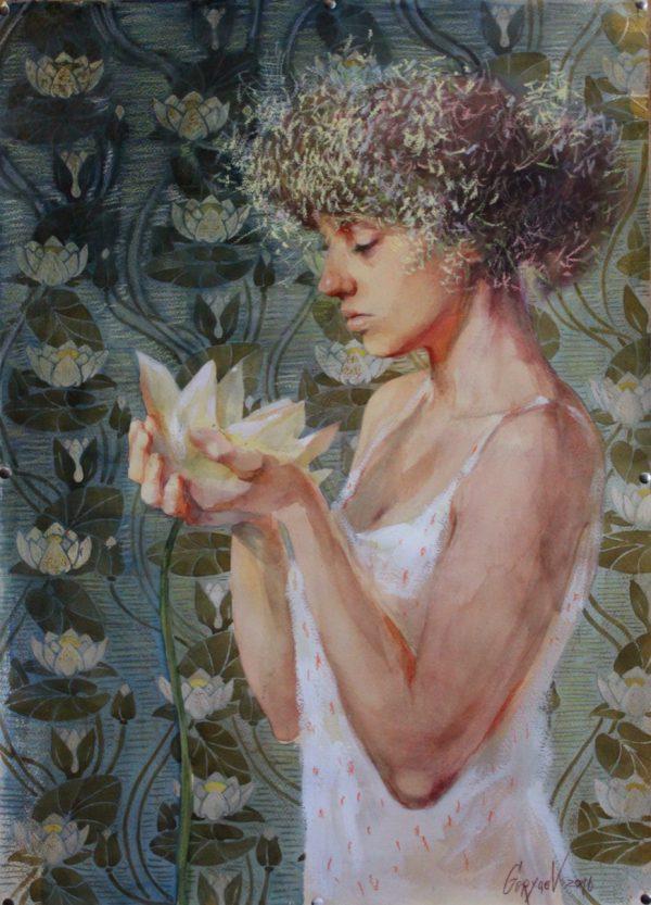Abbildung einer Frau mit Seerose. Pastelle, Aquarell auf Papier.
