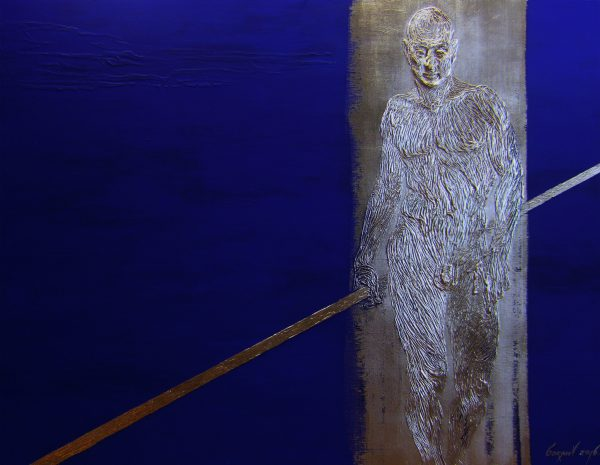 Abbildung eines Mannes auf dem kobaltblauen Hintergrund. Acryl, Blattgold.