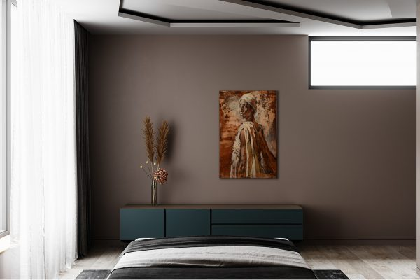 """Bild """"Sodade"""" im Interieur eines Schlafzimmers über einen Lowboard."""