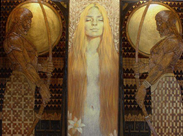 Weiße Lilien. Gestalt einer schlafenden Frau mit zwei Wächter recht und links. Öl auf Leinwand, Blattgold, Ölpastelle.