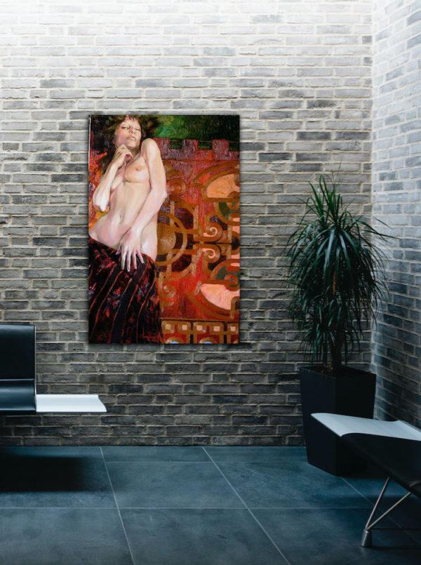"""Bild """"Muse"""" auf einer Backsteinwand."""