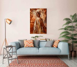 """Ölbild """"Sodade"""" im Retro Interieur über die Couch."""