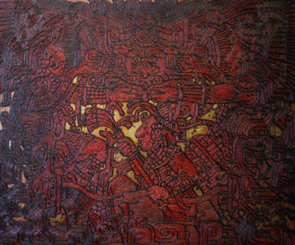 Ornamente des Maya Volkes. Rot-Schwarz-Gold.