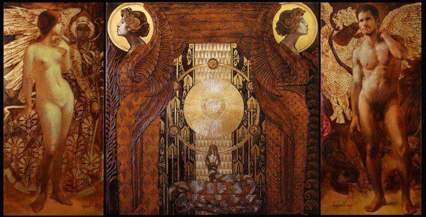 """Tryptichon """"Am Anfang"""". Adam und Eva mit Engeln im Hintergrund rechts und links. Zwei symbolischen Engel mit einer Schlange am Mitteltafel."""