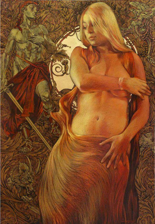 Abbildung von Andromeda. Pastell auf Tonpapier, Blattgold.