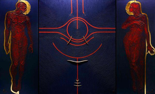 """Tryptichon """" Der Anfang"""". Adam und Eva auf blauen Hintergrund mit einem symbolischen Apfel auf dem Mitteltafel."""