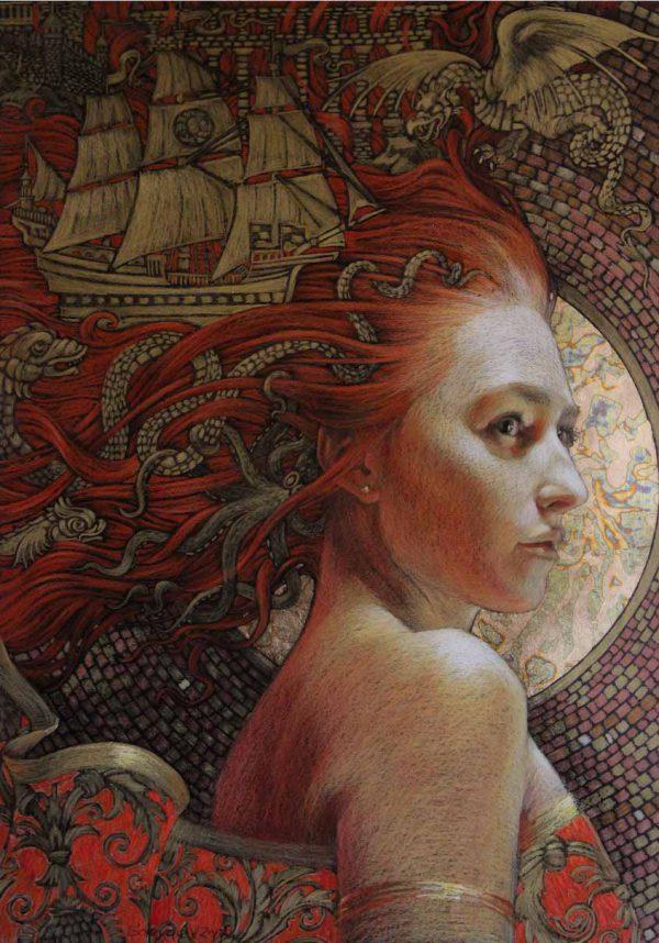 Abbildung einer rothaarigen Frau mit Segelschiff im Haar. Tonpapier, Stifte, Pastelle, Blattgold.