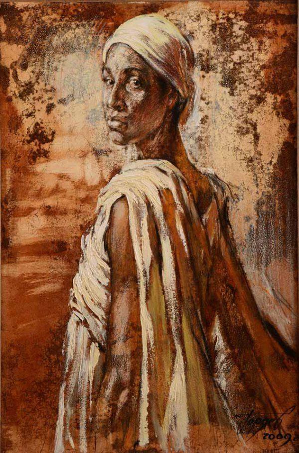 """Abbildung einer Wüstenfrau """"Sodade"""". Öl auf Leinwand."""