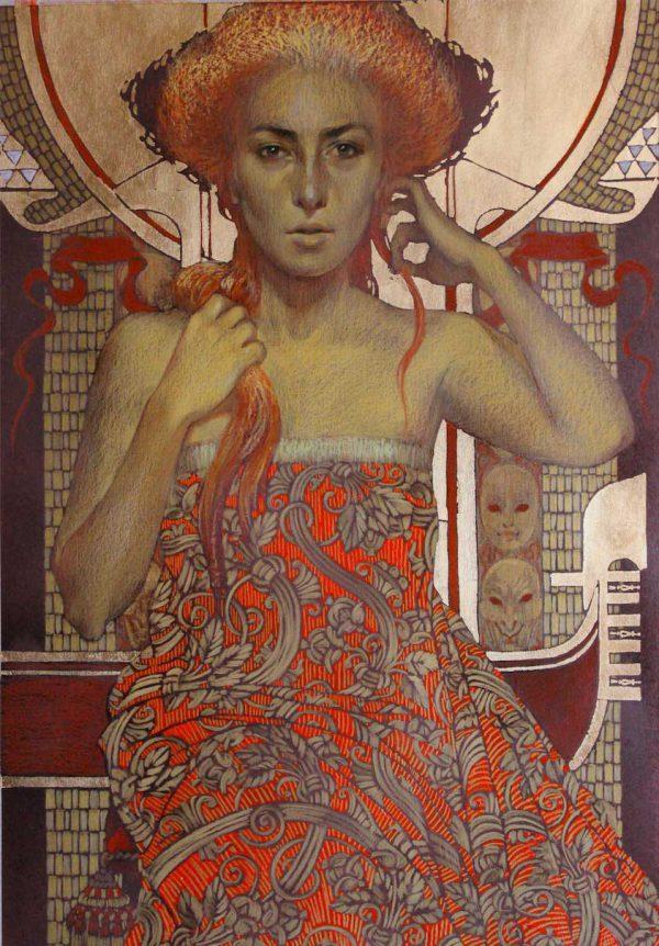 Abbildung einer rothaarigen Frau mit Gloriole. Tonpapier, Stifte, Pastelle, Blattgold.